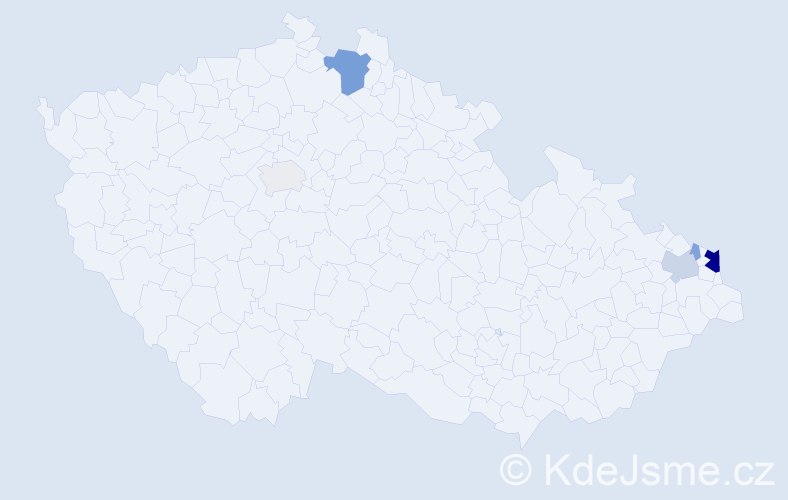 Příjmení: 'Korbas', počet výskytů 17 v celé ČR