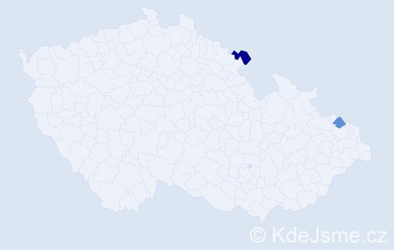 Příjmení: 'Hliník', počet výskytů 2 v celé ČR