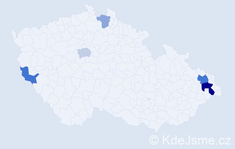 Příjmení: 'Koláč', počet výskytů 14 v celé ČR