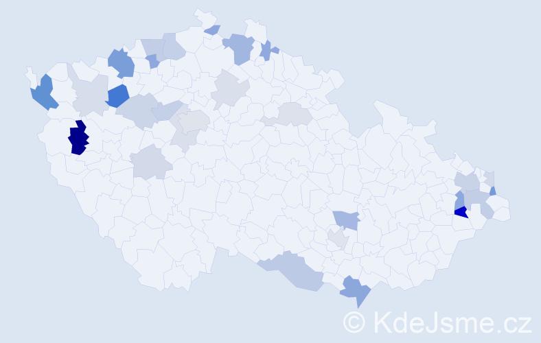 Příjmení: 'Hrivňák', počet výskytů 65 v celé ČR