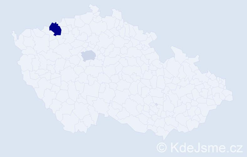 Příjmení: 'Banovič', počet výskytů 5 v celé ČR