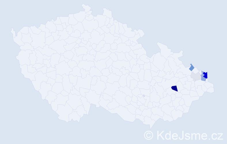 Příjmení: 'Kajsturová', počet výskytů 15 v celé ČR