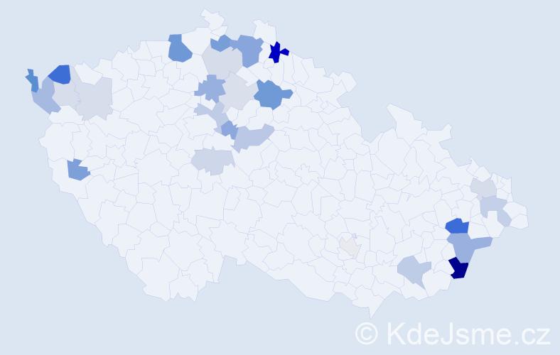Příjmení: 'Bajzík', počet výskytů 67 v celé ČR