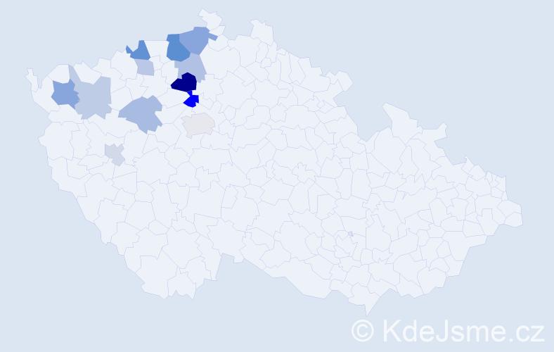 Příjmení: 'Honzajková', počet výskytů 25 v celé ČR