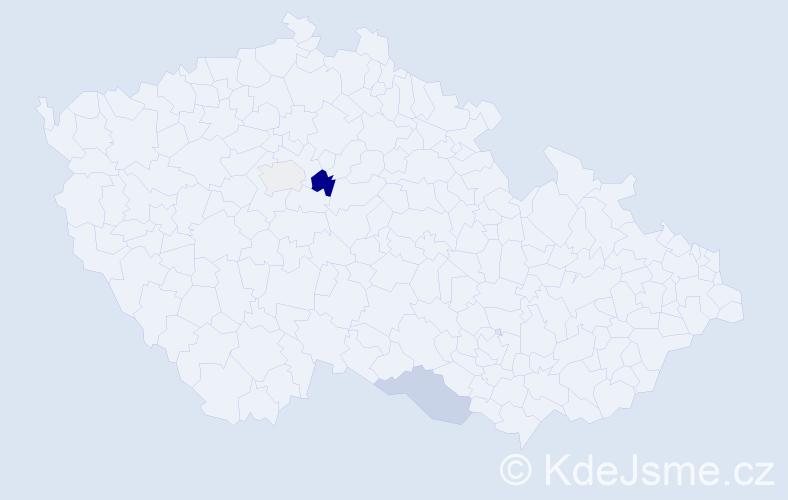 """Příjmení: '""""De Brito""""', počet výskytů 5 v celé ČR"""