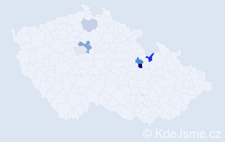 Příjmení: 'Kobulej', počet výskytů 13 v celé ČR