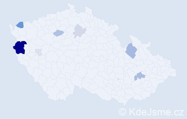 Příjmení: 'Čečová', počet výskytů 15 v celé ČR