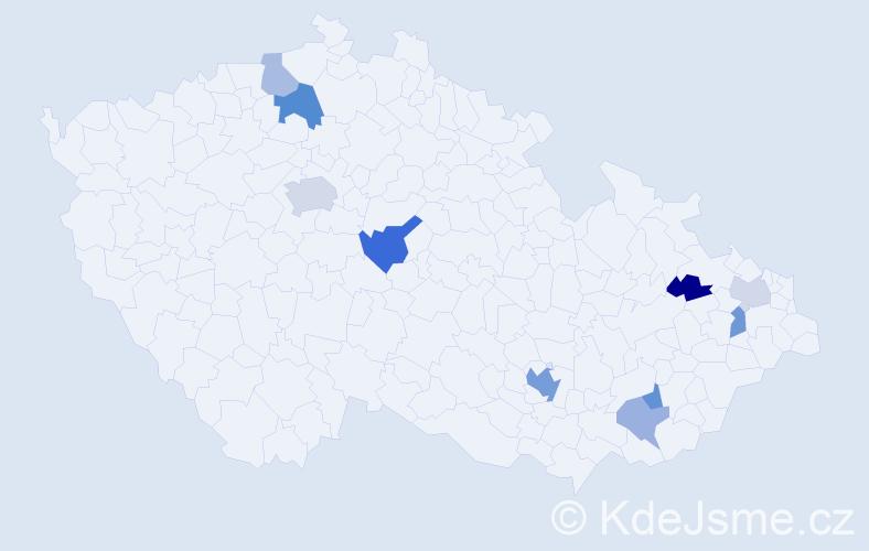 Příjmení: 'Jestříbková', počet výskytů 18 v celé ČR