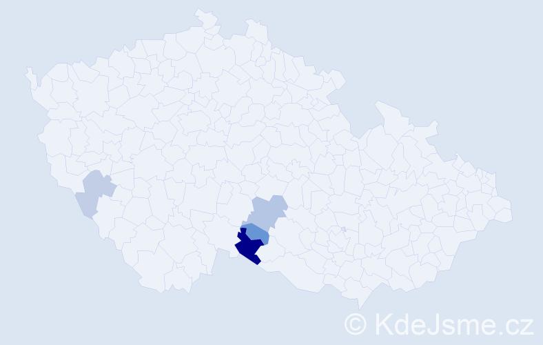 Příjmení: 'Irhová', počet výskytů 8 v celé ČR