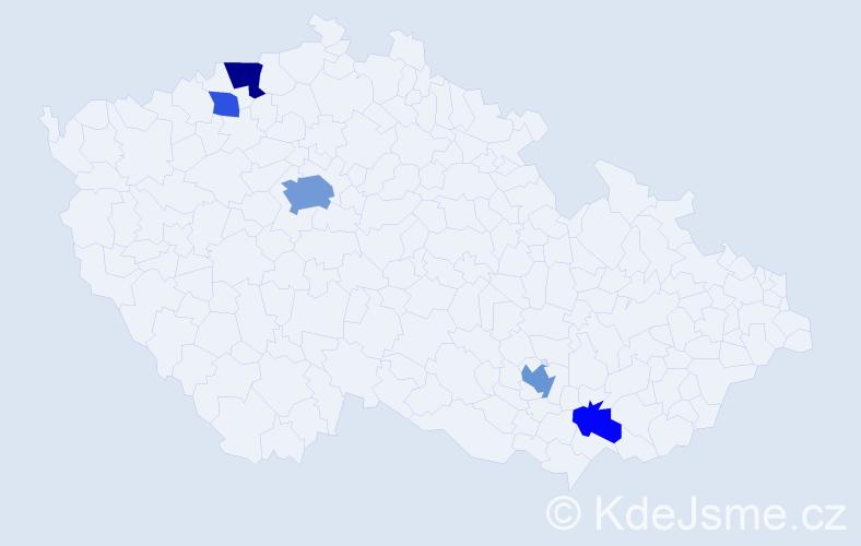 Příjmení: 'Bajrami', počet výskytů 11 v celé ČR