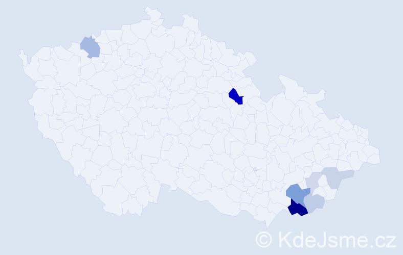 Příjmení: 'Latinová', počet výskytů 20 v celé ČR