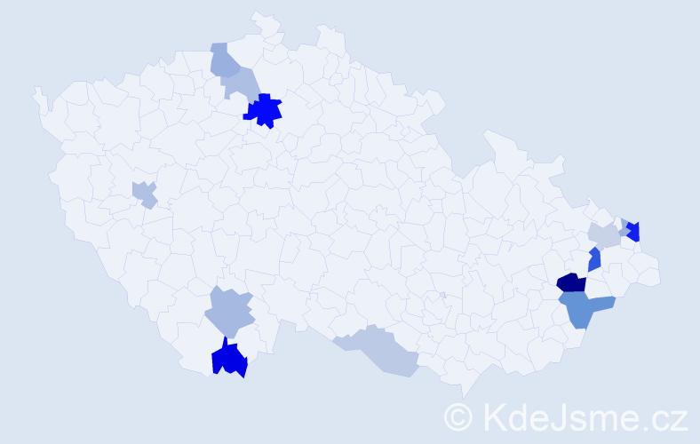 Příjmení: 'Danihlíková', počet výskytů 34 v celé ČR