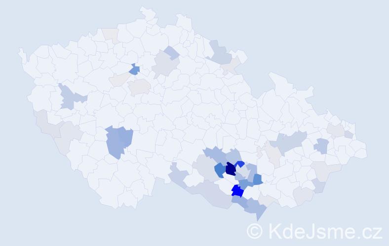 Příjmení: 'Hemalová', počet výskytů 125 v celé ČR
