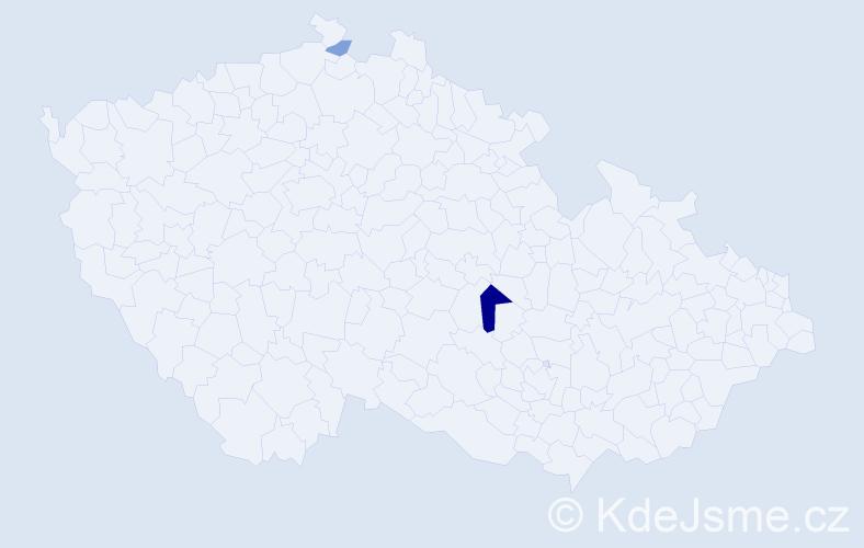 Příjmení: 'Dacer', počet výskytů 9 v celé ČR