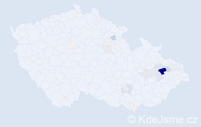 Příjmení: 'Klevarová', počet výskytů 70 v celé ČR