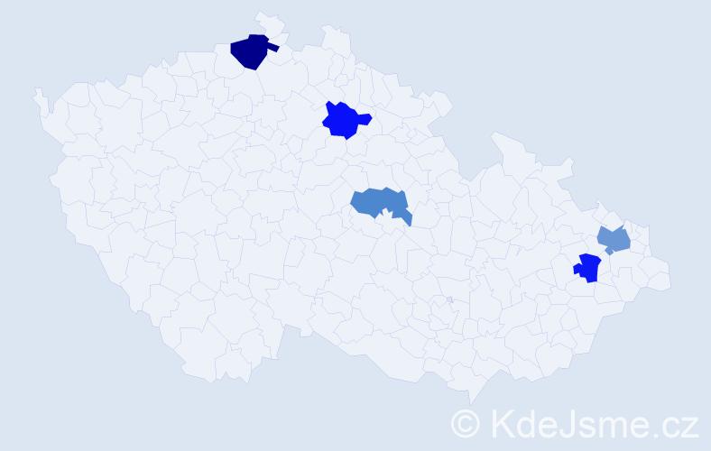Příjmení: 'Kadár', počet výskytů 7 v celé ČR