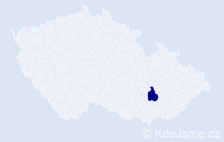 """Příjmení: '""""Kašparová Anteková""""', počet výskytů 1 v celé ČR"""
