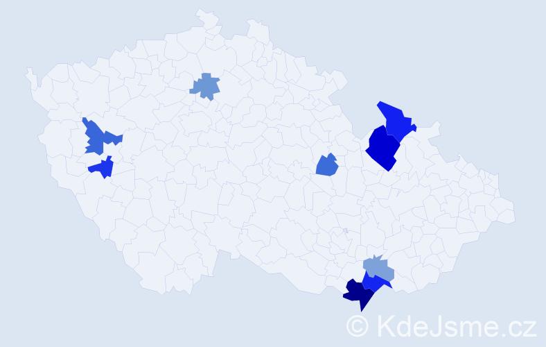 Příjmení: 'Kotvan', počet výskytů 19 v celé ČR