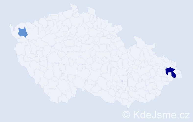 Příjmení: 'Gregoš', počet výskytů 4 v celé ČR