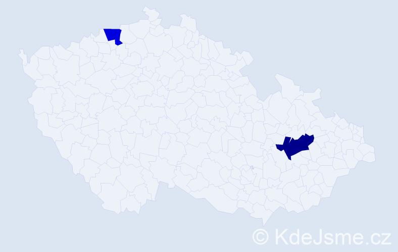 Příjmení: 'Čásek', počet výskytů 5 v celé ČR