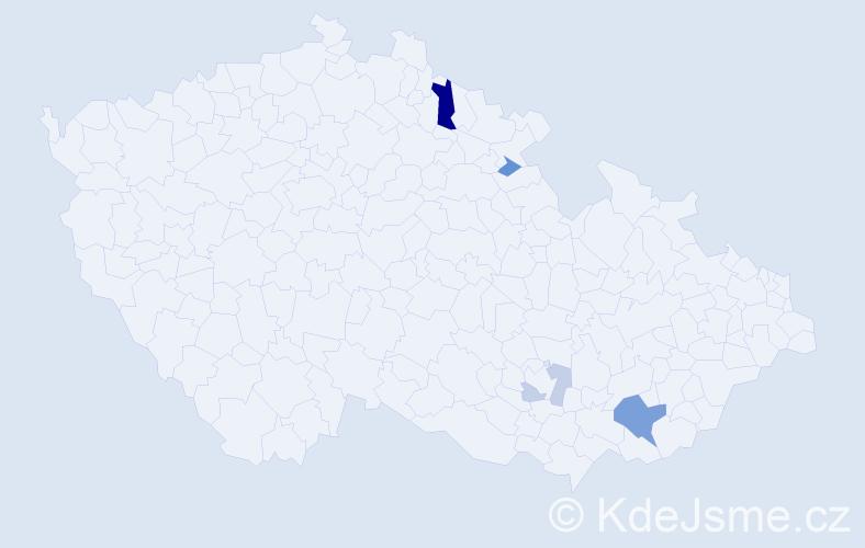 Příjmení: 'Esenderová', počet výskytů 10 v celé ČR