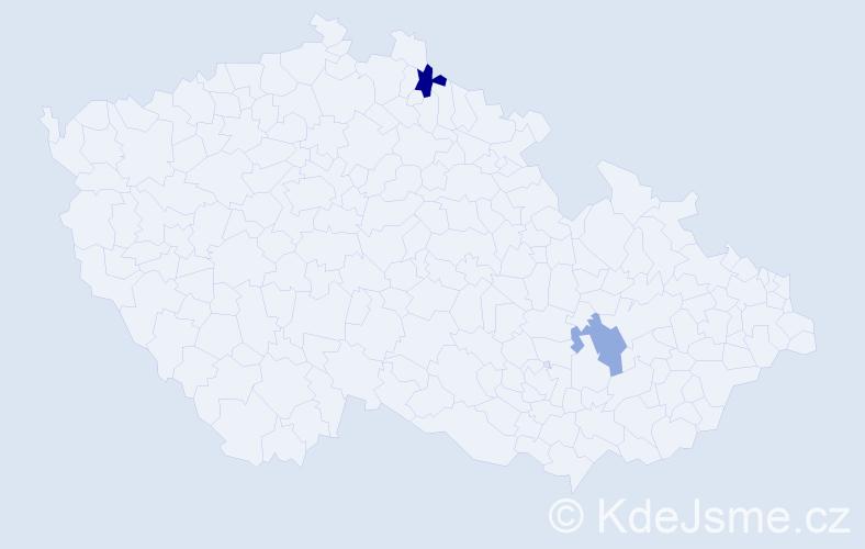 Příjmení: 'Harik', počet výskytů 7 v celé ČR