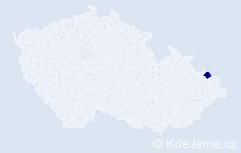 Příjmení: 'Kamradek', počet výskytů 5 v celé ČR