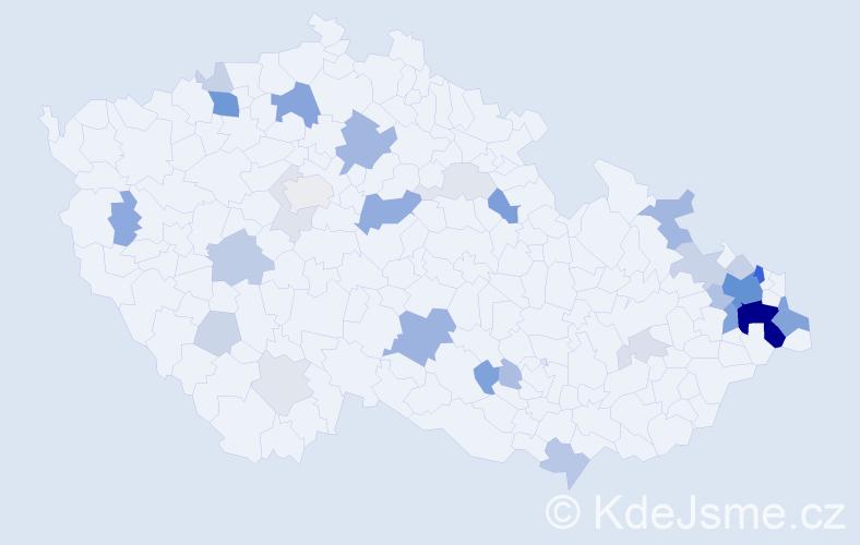 Příjmení: 'Janšová', počet výskytů 108 v celé ČR