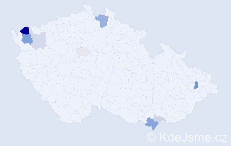 Příjmení: 'Alaxová', počet výskytů 22 v celé ČR