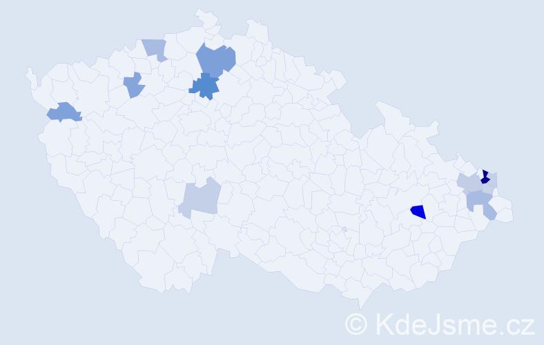 Příjmení: 'Hvolková', počet výskytů 27 v celé ČR