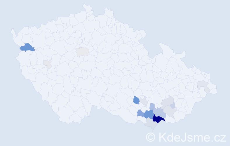 Příjmení: 'Hoša', počet výskytů 48 v celé ČR