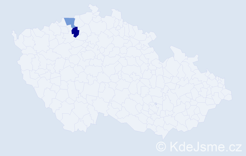 Příjmení: 'Lekićová', počet výskytů 2 v celé ČR