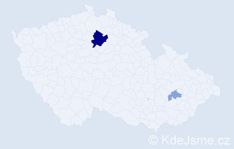 Příjmení: 'Gőrőgová', počet výskytů 6 v celé ČR