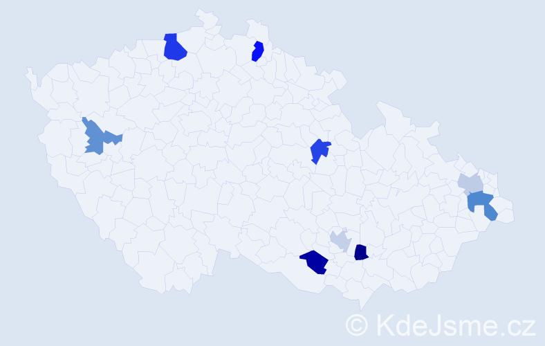 Příjmení: 'Olbrichtová', počet výskytů 13 v celé ČR