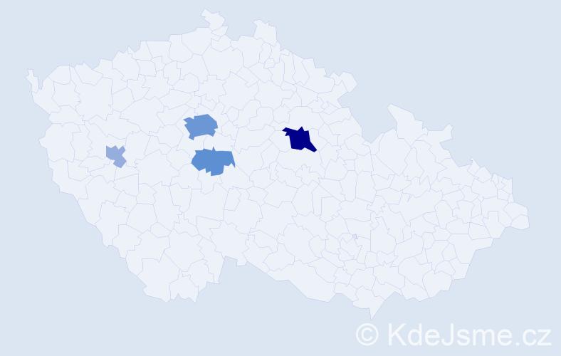 Příjmení: 'Jeřáb', počet výskytů 16 v celé ČR
