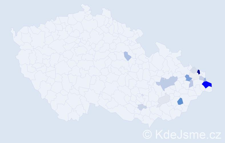 Příjmení: 'Janeczko', počet výskytů 55 v celé ČR