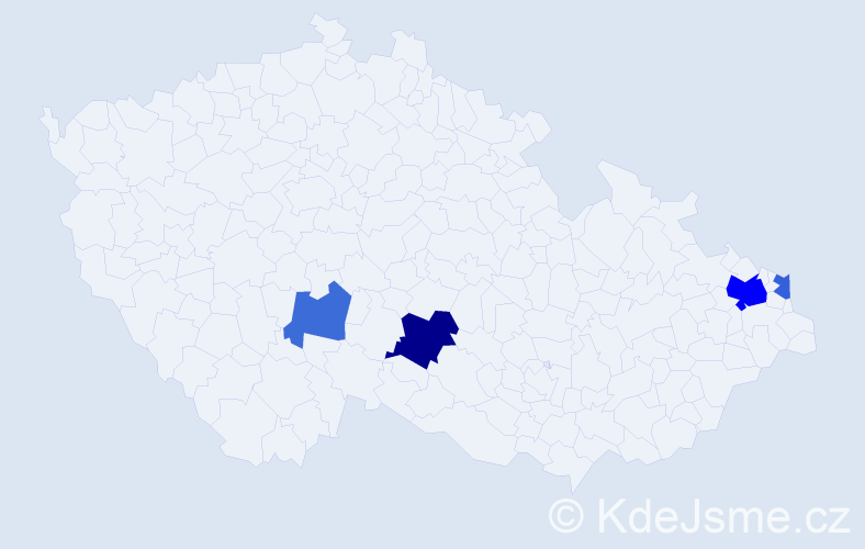 Příjmení: 'Lastovica', počet výskytů 8 v celé ČR