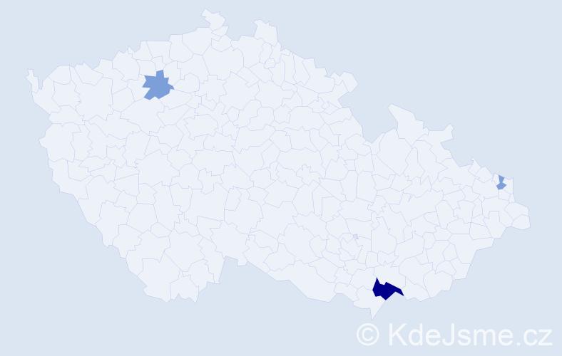 Příjmení: 'Donat', počet výskytů 7 v celé ČR