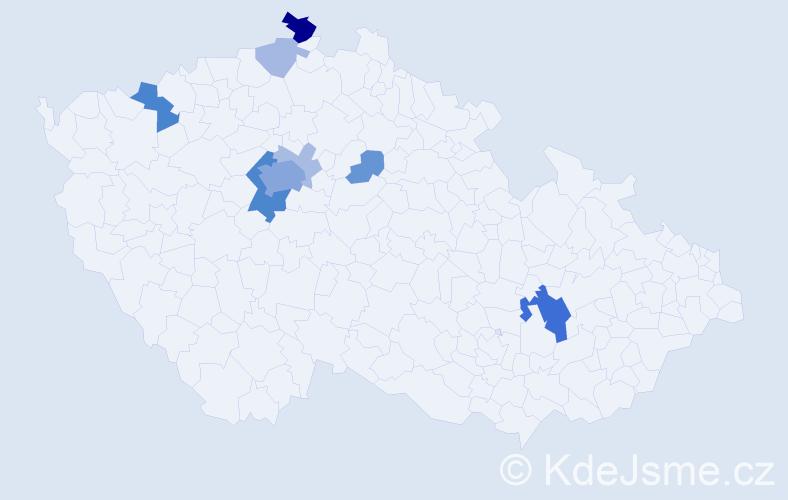 Příjmení: 'Hatle', počet výskytů 30 v celé ČR