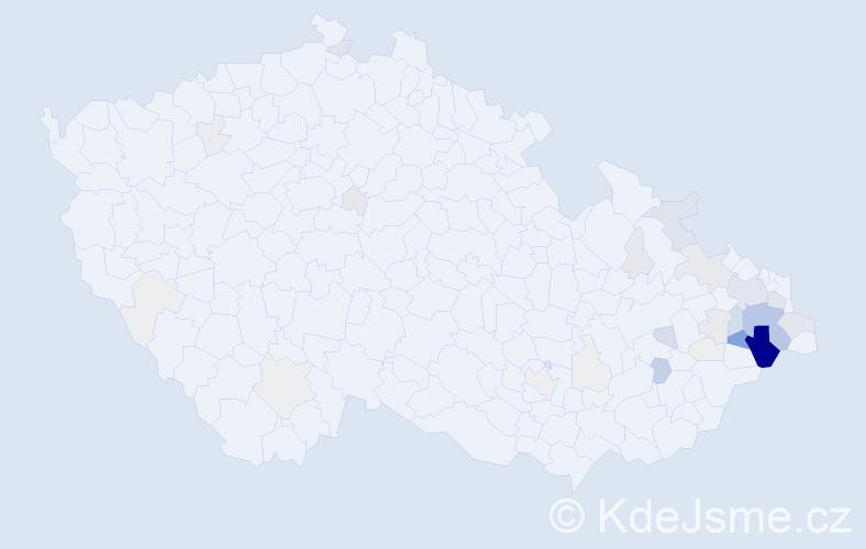 Příjmení: 'Běčák', počet výskytů 158 v celé ČR