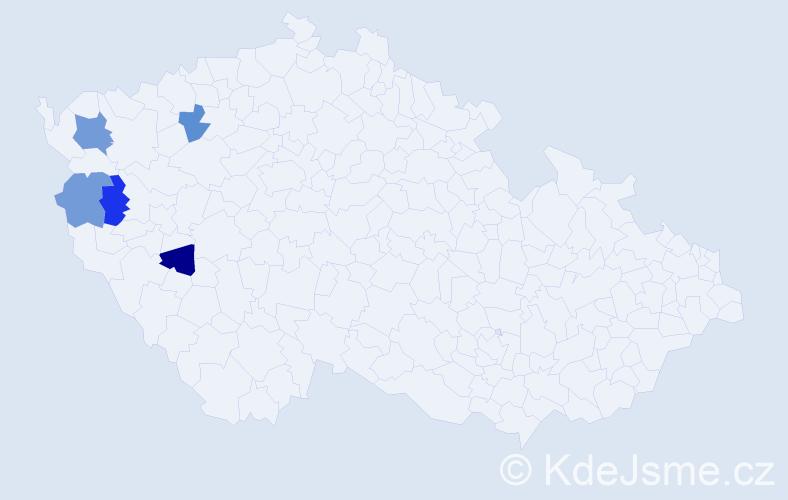Příjmení: 'Čengeryová', počet výskytů 6 v celé ČR