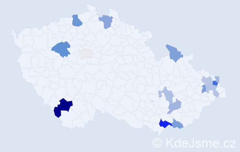 Příjmení: 'Horinková', počet výskytů 28 v celé ČR