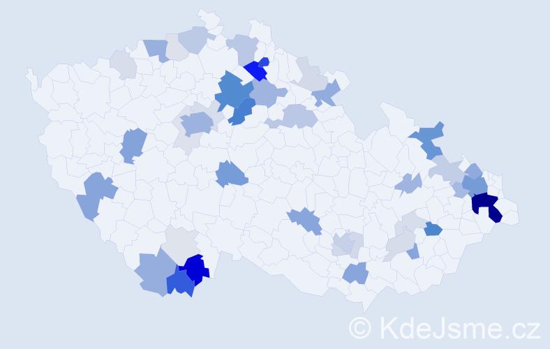 Příjmení: 'Halešová', počet výskytů 156 v celé ČR