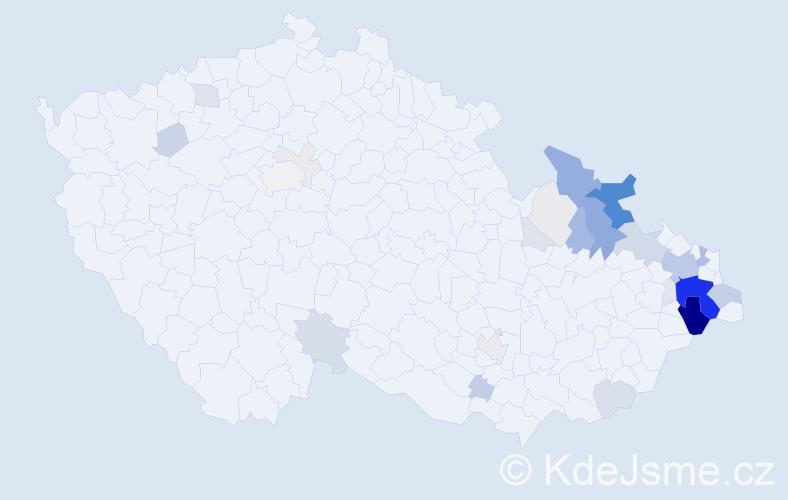 Příjmení: 'Gřunděl', počet výskytů 142 v celé ČR
