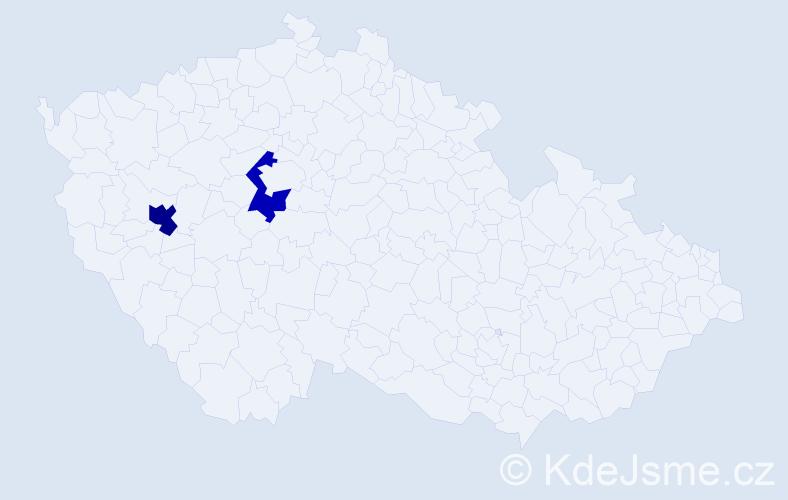 Příjmení: 'Bejleková', počet výskytů 5 v celé ČR