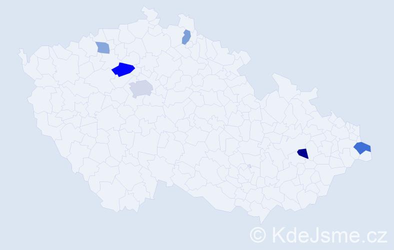 Příjmení: 'Datko', počet výskytů 10 v celé ČR