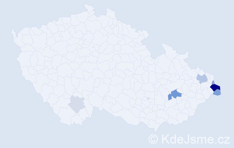 Příjmení: 'Kapustka', počet výskytů 20 v celé ČR