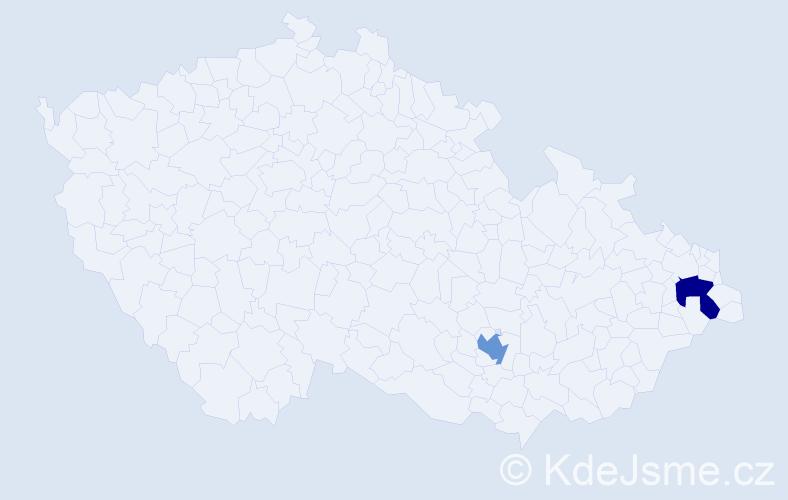 Příjmení: 'Entesary', počet výskytů 2 v celé ČR