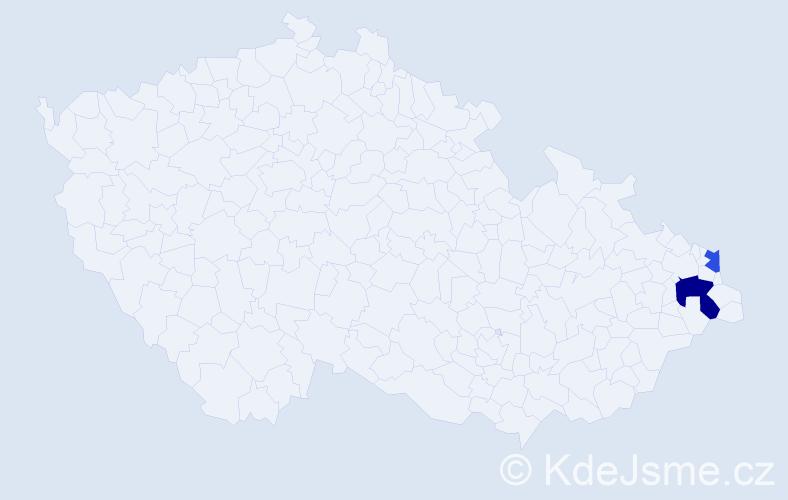 Příjmení: 'Harnůšek', počet výskytů 3 v celé ČR
