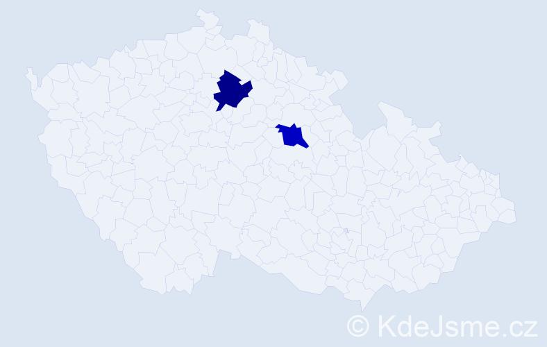 Příjmení: 'Kostra', počet výskytů 4 v celé ČR